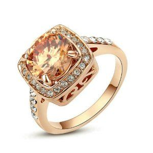 [Retro Series] Yoursfs Sparkly 1.5ct Austrian Crystal Topaz Engagement Ring 18k Rose Gold Plated Valentine's Day gift Ring