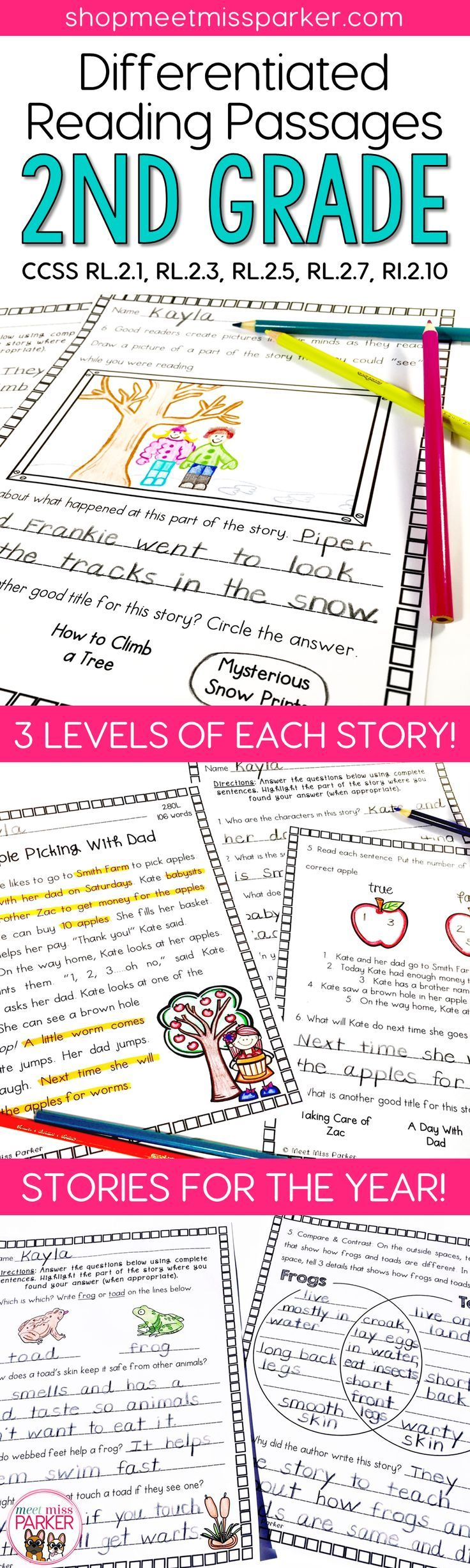 Reading Passages for 2nd grade These differentiated 2nd grade reading comprehension passages can be used for close reading, reading interventions, literacy center activities, homework, and guided reading groups in your grade 2, or 3rd grade classroom! text evidence, differentiated reading passages, reading comprehension activities, 2nd grade, text evidence, close reading