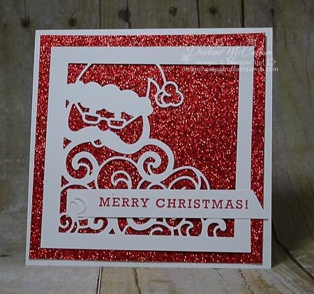 Detailed Santa Thinlits with Greetings from Santa Stamps - www.dreamingaboutrubberstamps.com -  Make fast and cute Chrismtas Cards with this bundle from Stampin' Up! and  Red Glimmer paper