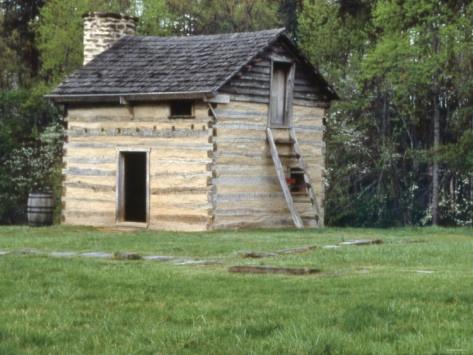 Slave cabin, the birthplace of Booker T. Washington at Burroughs Tobacco Plantation, Virginia.