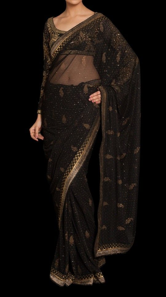 Black embroidered net sari with stitched blouse by ritu kumar