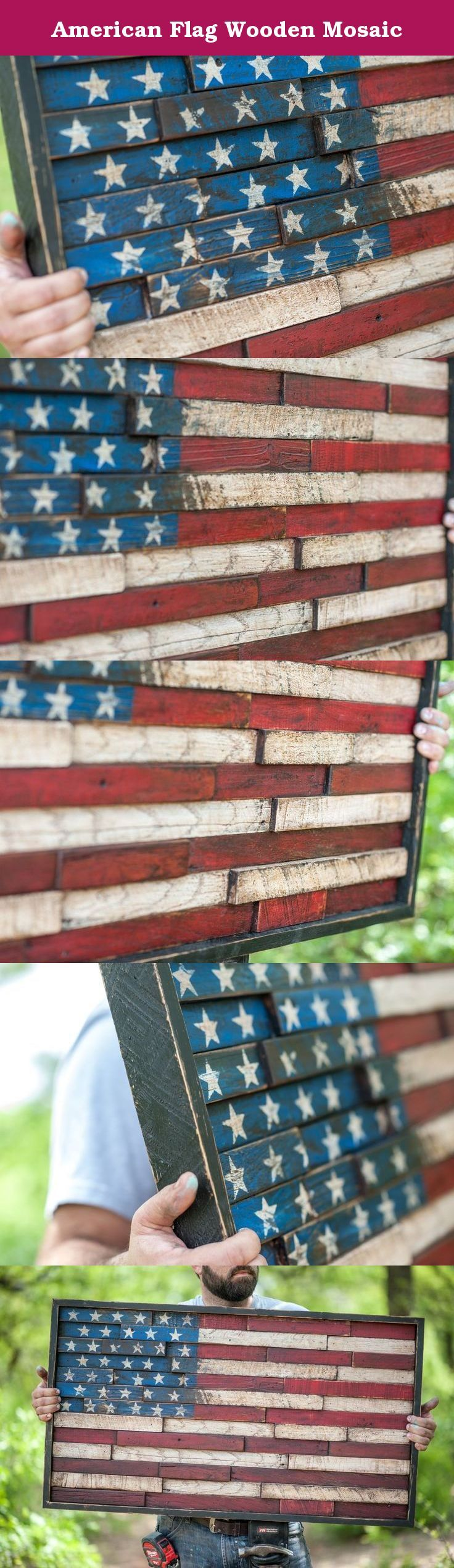 """American Flag Wooden Mosaic. This Wooden American Flag is absolutely stunning! Itwas hand painted and distressed and coated with protective wax for years of protection. It fits perfectly over the mantle in our home! **HANDSOME BEARDED MAN NOT INCLUDED** This flag measures appx 38"""" x 22"""" x 3"""" deep. This flag has a traditional wire hanger on the back for easy hanging. Made from reclaimed wood gathered from contractors after jobs. We are happy to reuse and recycle their old wood! This sign…"""