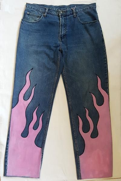 Vintage High Rise Jeans w/ Pastel Pink Flames
