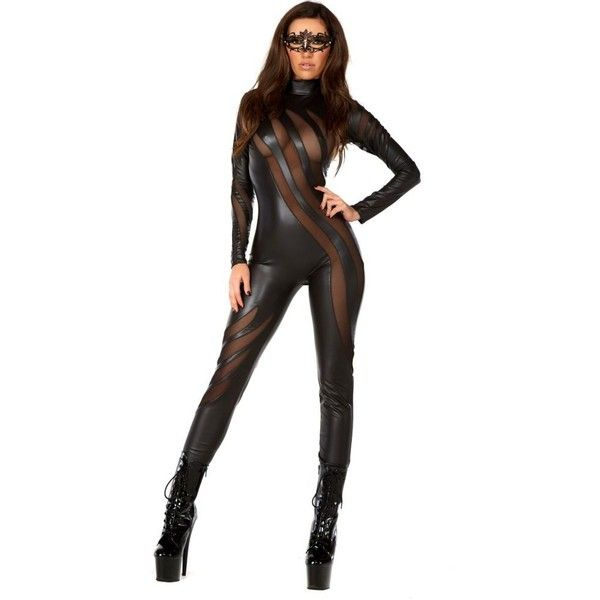Adult Faux Leather Catsuit with Mesh Inserts Sexy Costume ($80) ❤ liked on Polyvore featuring costumes, halloween costumes, multicolor, sexy adult costumes, white costumes, colorful costumes, sexy costumes and forplay