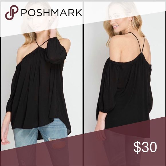 Bethany Off Shoulder Top Black Off Shoulder top in chiffon material. Halter style neck. Elasticized 3/4 sleeves. Tops