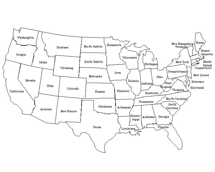 United States Labeled Map States And Capitals Of The United - Labeled map of us states