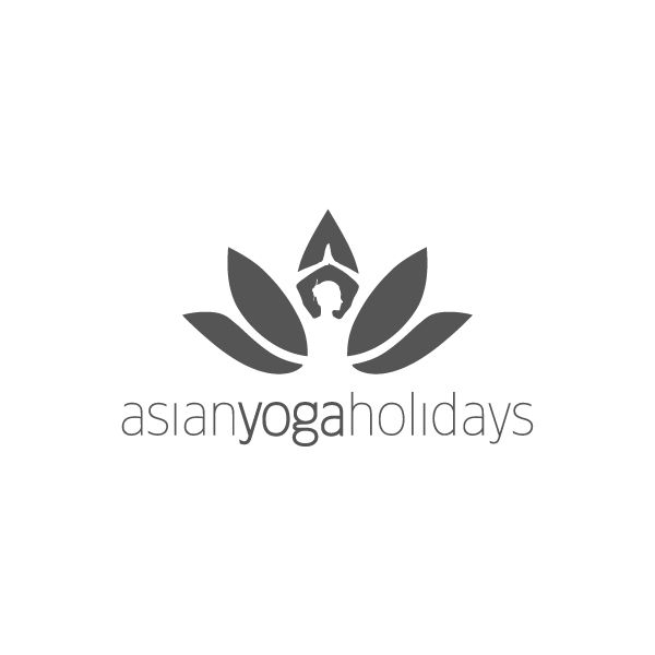 Asian Yoga Holidays Logo | Delivers unique Yoga packages by blending personal experience & knowledge with sublimely beautiful natural locations across South-East Asia. Represented by a lotus flower, a common image for Yoga, with a woman in a Yoga pose looking to the right, to represent the East. | Designer: Jeriah