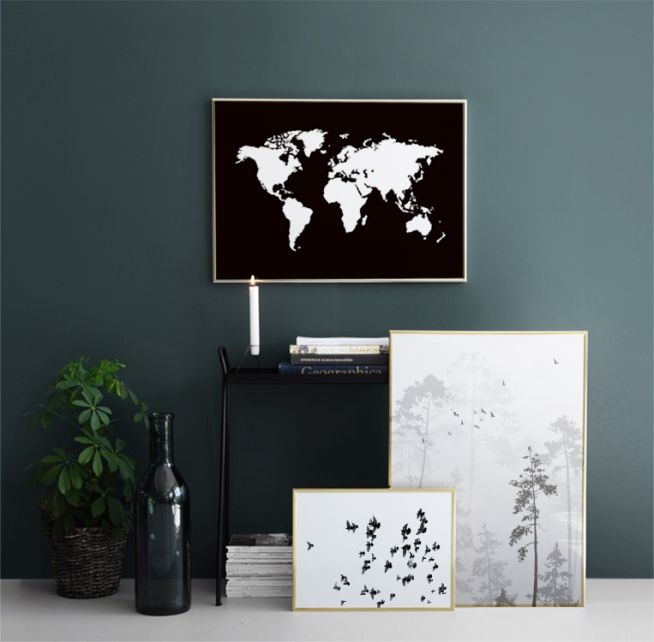 World Map Black, posters