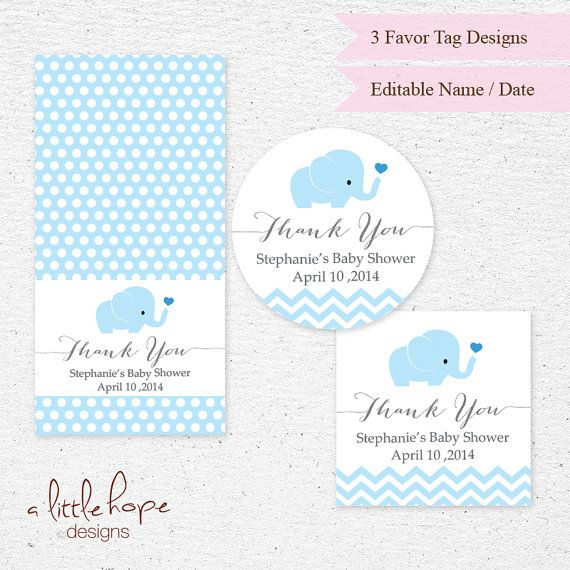 INSTANT DOWNLOAD   Editable Text   Light Blue Elephant Baby Shower Thank You  Tag   Printable