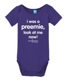 New!  I was a preemie, look at me now!  March of Dimes March for Babies onesies! #whyiwalk #marchforbabies