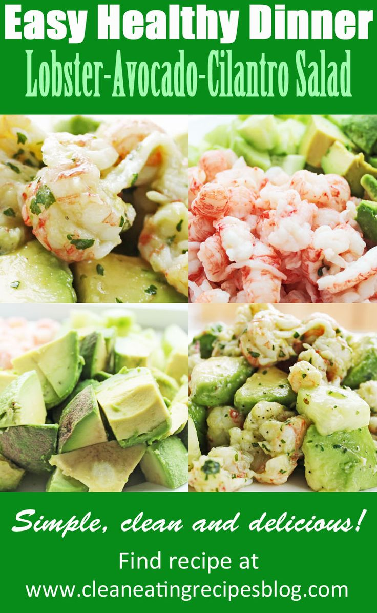 Easy healthy recipe: lobster-avocado-cilantro salad (from Clean Eating Recipes Blog) Click pin and find recipe.