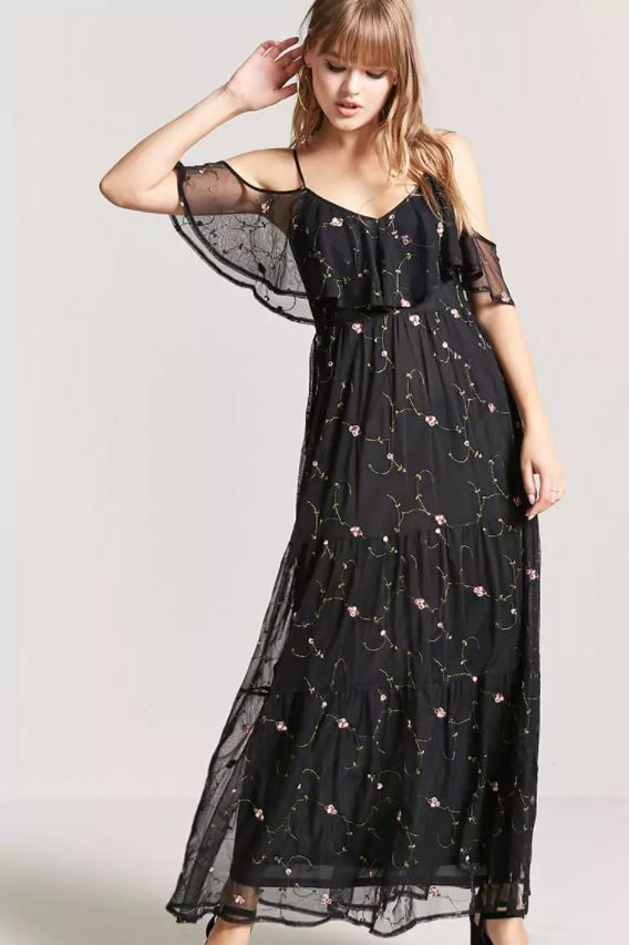 102fde70b427 Stevie Nicks inspired black maxi dress from Forever 21. Click through to  see my Stevie Nicks  Get the Look post on The Pop Cult.