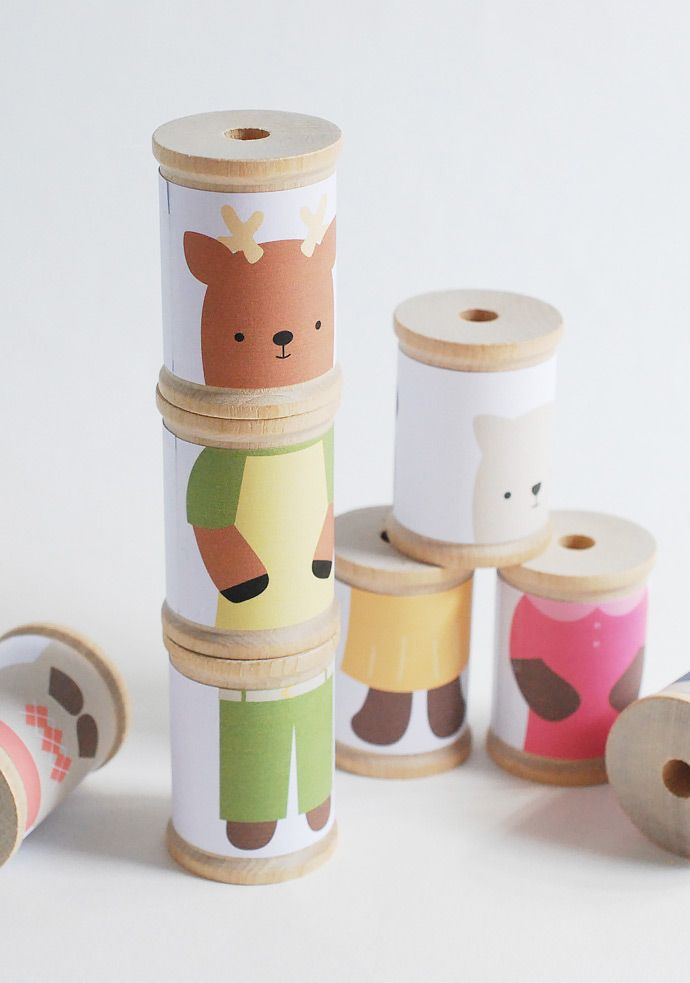 DIY Mix 'Em Up Animal Spools... Cuteness!
