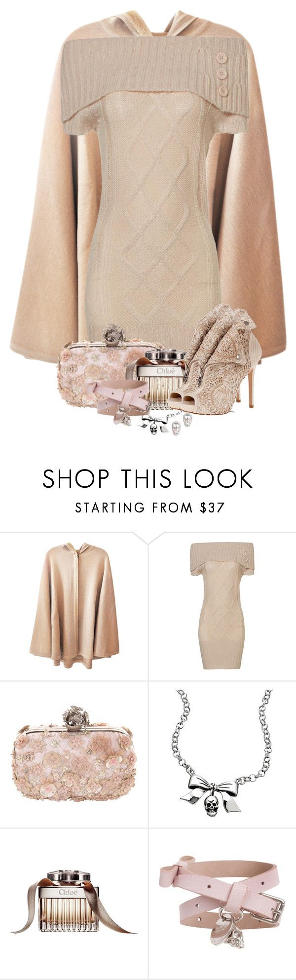 """La Femme Rose"" by curvacious ❤ liked on Polyvore featuring Jane Norman, Alexander McQueen, Femme Metale, Chloé, LeiVanKash, sweater dresses, ankle booties, feminine and skulls"
