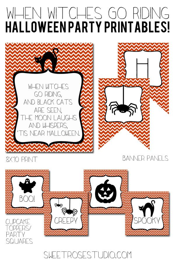 Hello, awesome! FREE When Witches Go Riding Halloween Party Printables from SweetRoseStudio.com! Whoop!
