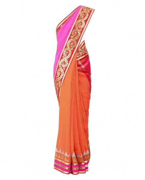 Ombre Orange and Pink Sari with Gota Embellished Pallu