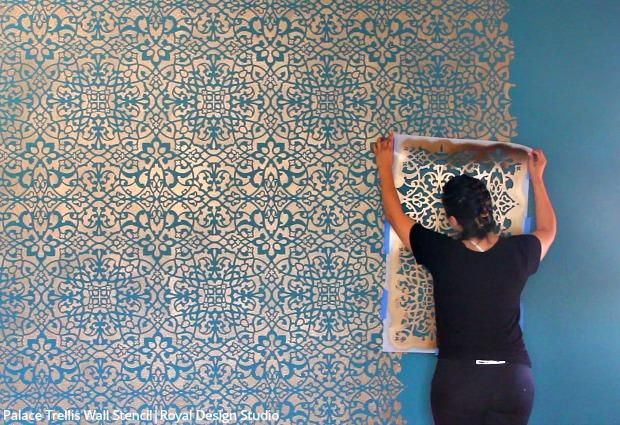 How To Stencil A Wallpaper Look For Less Stenciled Painted