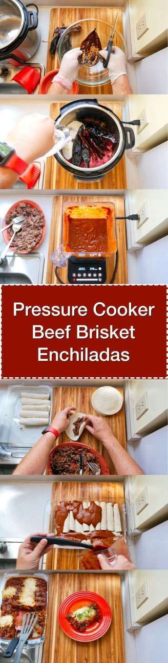 Pressure Cooker Beef Brisket Enchiladas - Step by Step Tower | DadCooksDinner.com