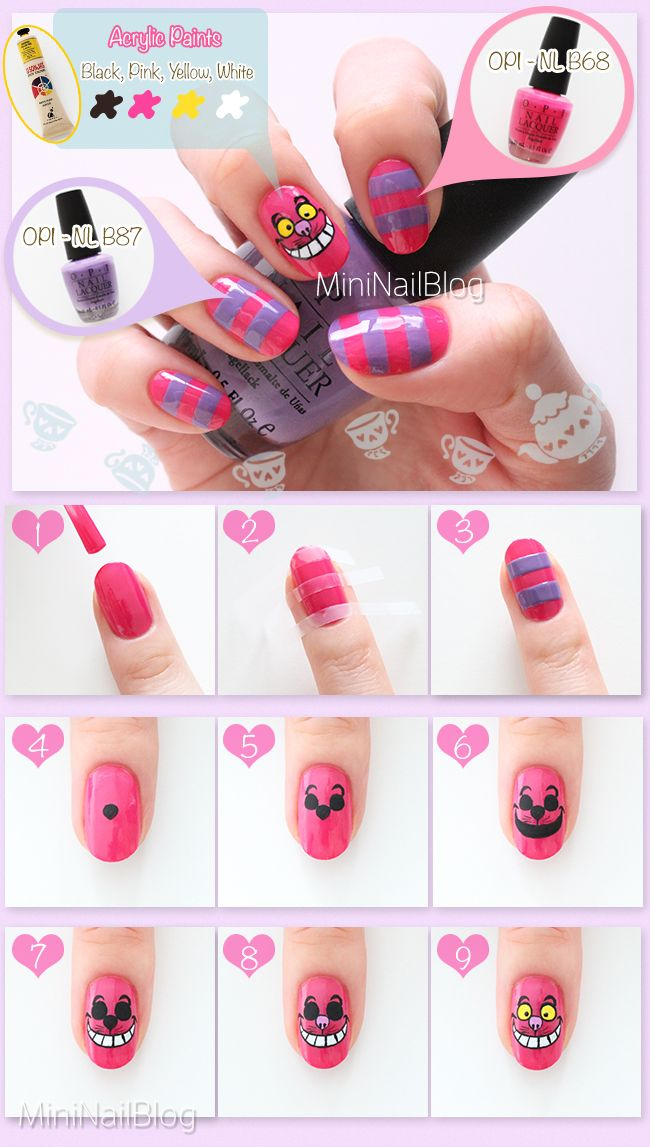Alice in Wonderland Nails: Cheshire Cat https://nailbees.com/cheshire-cat-nails #NOTD #aliceinwonderland #tutorial