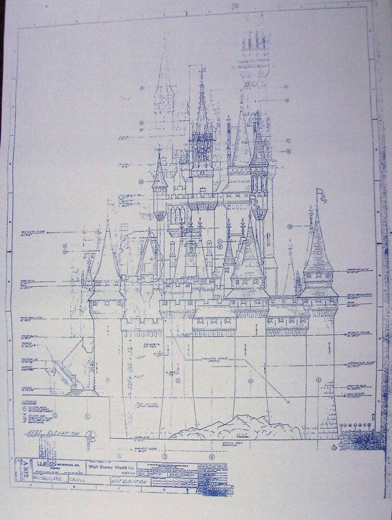 Walt Disney World Cinderella Castle West Blueprint By