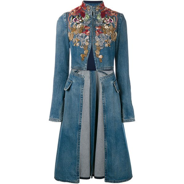 Alexander Mcqueen Embellished Denim Coat ($5,845) ❤ liked on Polyvore featuring outerwear, coats, high collar coat, denim coat, multi colored coat, embroidered coat and blue coat