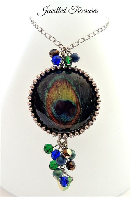 Peacock collection - feather pendant necklace - one of a kind