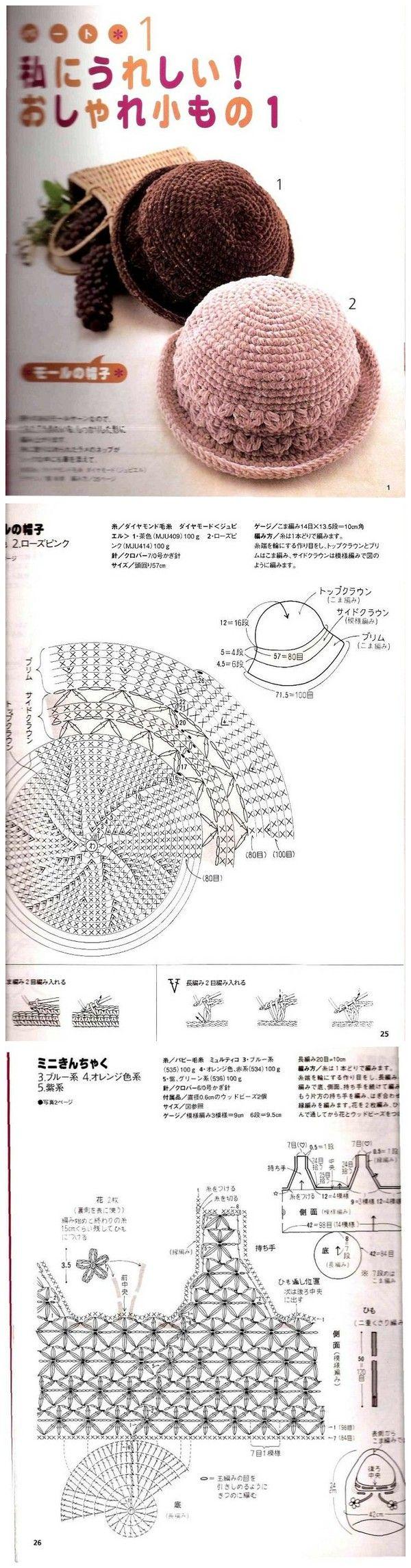 Sombrero con vuelta y bolso - Patrones hat crochet