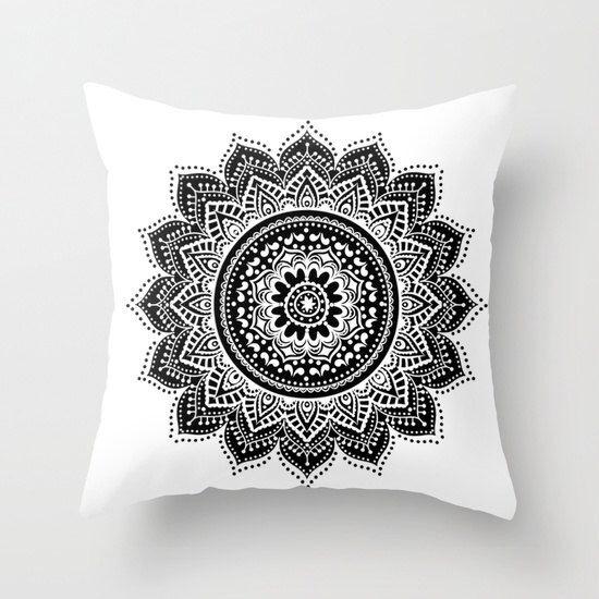 Mandala pillow/black and white mandala pillow/zen pillow/minimal pillow/throw pillows/black pillow/white pillow/home decoration/dorm decor by haroulitasDesign on Etsy https://www.etsy.com/listing/246367352/mandala-pillowblack-and-white-mandala