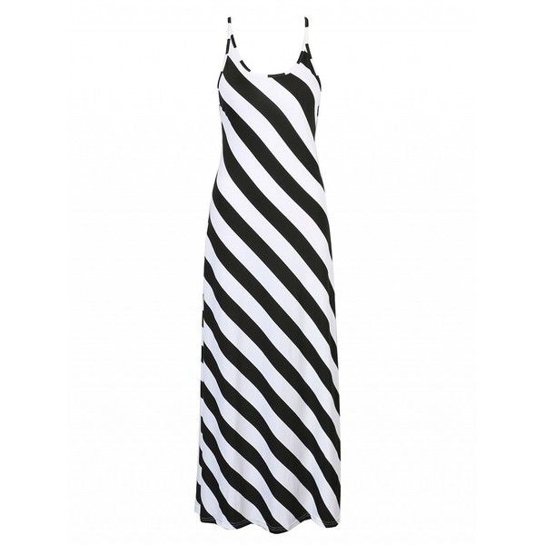 Choies Monochrome Stripe Print Open Back Tied Detail Maxi Beach Dress (€18) ❤ liked on Polyvore featuring dresses, multi, tie dress, striped beach dress, beach dress, white dress and striped maxi dress