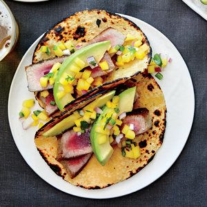 Pan-Seared Tuna Tacos with Avocado and Mango Salsa | MyRecipes.com