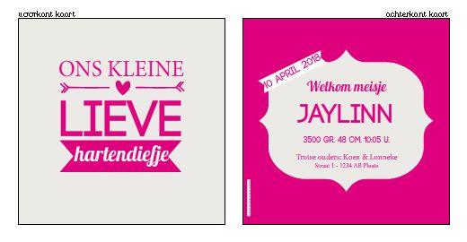 Geboortekaartje typografisch - Typografisch kaartje voor een meisje. Ontwerp / bewerk dit kaartje zelf, met onze ontwerptool. www.geboortekaartjesdrukkerij.nl geboortekaartjes, #geboorte, #kaartjes, #zelfontwerpen, #ontwerpen, #uniek, #meisje, #zwanger, #baby, #typografisch, #modern