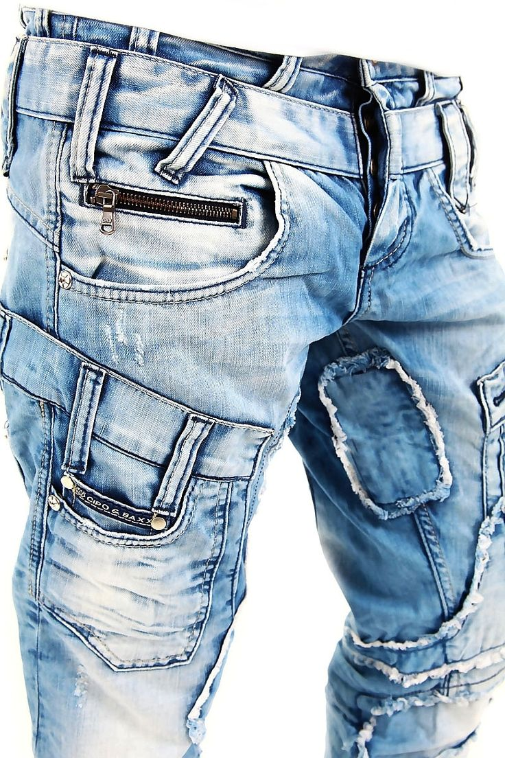 Cipo Baxx Cipo Baxx Jeans Destroyed Patchwork Hellblau C