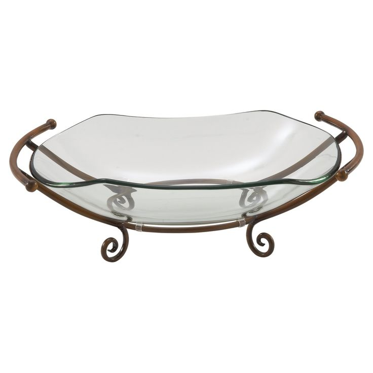 DecMode Large Glass Bowl with Bronze Metal Stand - 68555