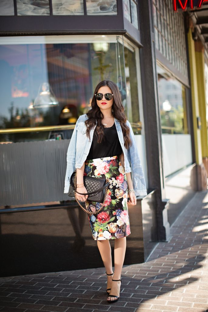 Skirt: J.Crew | Tee: Caslon | Jacket: Citizens of Humanity, sold out (similar style) | Heels:...
