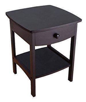 end table night stand bedroom living room den wood accent black shelf drawer 18 go shop home u0026 garden