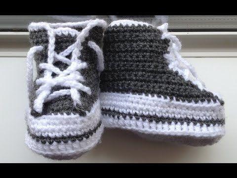 Tutorial Zapatillas Bebé Crochet Tipo Converse Paso a Paso en Español - YouTube