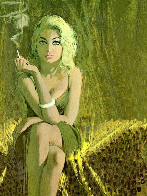 Robert McGinnis illustrated the covers of some of my favorite pulp novels from the 60s and 70s. This one is iconic: the fabulously beautiful woman, the striking composition, and the richly patterned fabrics.