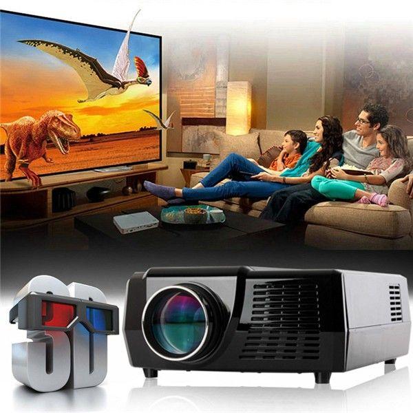 HD Home Cinema Theater Multimedia LED Projector 1024 x 768 LCD HDMI VGA AV 3D