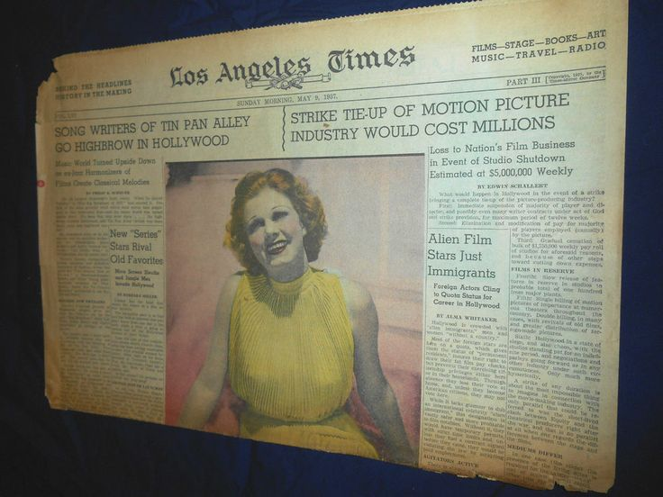Los Angeles Times Magazine May 9 1937 JEAN HARLOW, TOWN CALLED HOLLYWOOD