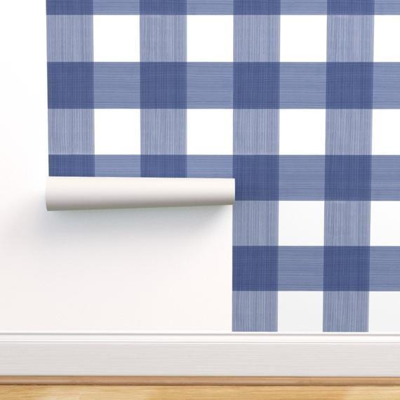 Blue Buffalo Plaid Wallpaper Blue 6 Buffalo Plaid By Danika Herrick Custom Printed Removable Self Adhesive Wallpaper Roll By Spoonflower Plaid Wallpaper Removable Wallpaper Blue Buffalo