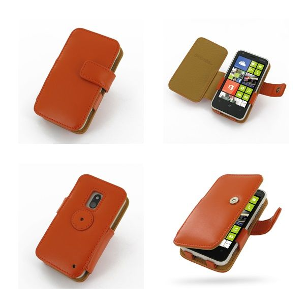 PDair Leather Case for Nokia Lumia 620 - Book Type (Orange)