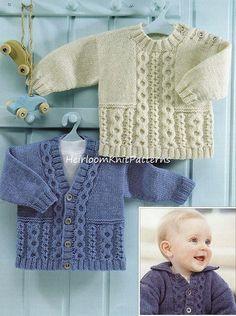 Bebé Niño Niños Niñas Chaqueta con cable, suéter y cárdigan Patrón de tejido DK / 8ply Patrón de tejido para niños PDF Descarga inmediata - 550