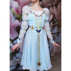 "Professional ballet costume for the role of Juliet in the ballet ""Romeo and Juliet"". Can also be used for the corps de ballet dances. This awesome ballet dress is made with pale blue chiffon and featu"