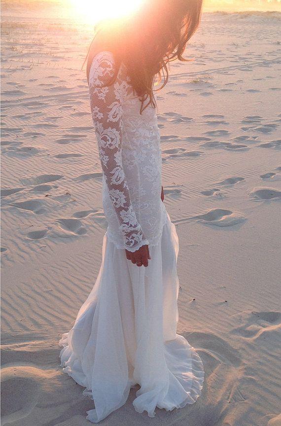 Long lace sleeve wedding dress with stunning low back and silk chiffon train boho vintage bride