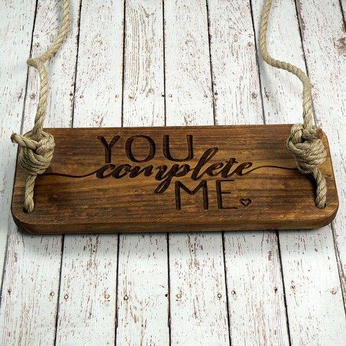 HP Swings You Complete Me Engraved Wooden Tree Swing