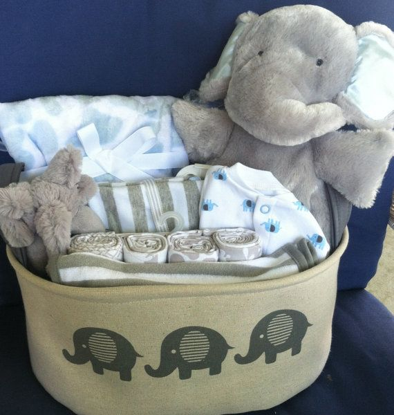 baby boy elephant basket cute baby shower gift gray neutral