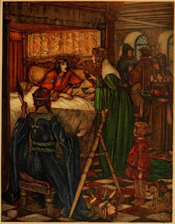 She alone, cunning in the use of philtres, could save Tristram   The romance of Tristram and Iseult  Joseph Bédier  illustrated by Maurice Lalau. 1910