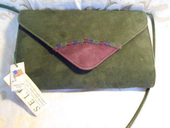 Vintage Selby Purple And Green Purse Long Strap by SETXTreasures