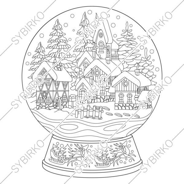 Coloring Pages For Adults Christmas New Year Magic Snow Globe