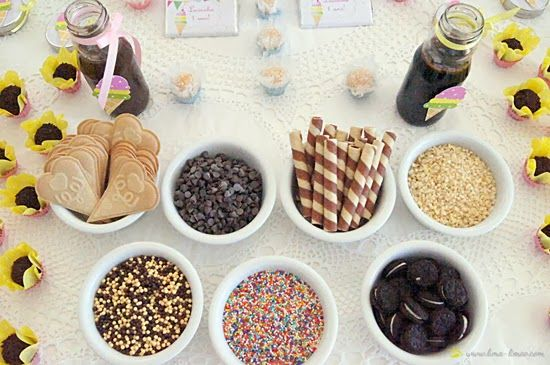 The toppings for the ice-scream served at the guest for this ice-cream party